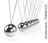 balancing balls newton's cradle ... | Shutterstock . vector #736061113
