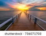 bridge with sunset  background... | Shutterstock . vector #736071703