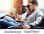 diverse group of people... | Shutterstock . vector #736074967