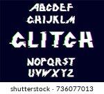 alphabet glitch.vector... | Shutterstock .eps vector #736077013