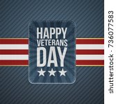 happy veterans day paper banner | Shutterstock .eps vector #736077583