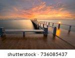 bridge with sunset  background... | Shutterstock . vector #736085437