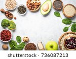 superfoods on a gray background ... | Shutterstock . vector #736087213