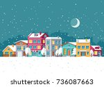 snowfall in winter town with... | Shutterstock .eps vector #736087663