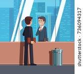business man adjusting tie... | Shutterstock .eps vector #736094317