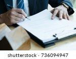 realtor man explain mortgage...   Shutterstock . vector #736094947