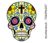 yellow sugar skull with a cross ... | Shutterstock .eps vector #736096207
