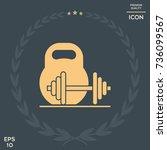 kettlebell and barbell icon | Shutterstock .eps vector #736099567