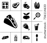 food icon. set of 13 filled... | Shutterstock .eps vector #736114633