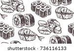 hand drawn doodle sea food set. ... | Shutterstock .eps vector #736116133