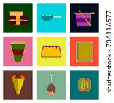 set pixel icons of fast food | Shutterstock .eps vector #736116577