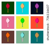 set pixel icons of fried... | Shutterstock .eps vector #736116637