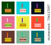 set pixel icons of french fries ... | Shutterstock .eps vector #736117057