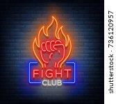 fight club logo neon sign... | Shutterstock .eps vector #736120957