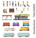 railway decorative icons set...   Shutterstock .eps vector #736126003