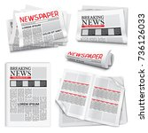 Set of newspaper icons on white background with headlines and text articles on breaking news theme isolated realistic vector illustration | Shutterstock vector #736126033