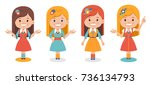 smiling cute girls in different ... | Shutterstock .eps vector #736134793