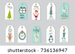 merry christmas gifts tags ... | Shutterstock .eps vector #736136947