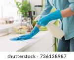 woman cleaning and polishing... | Shutterstock . vector #736138987