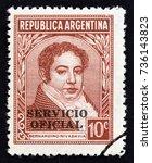 argentina   circa 1945  a stamp ... | Shutterstock . vector #736143823