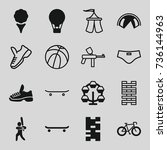 recreation icons set. set of 16 ... | Shutterstock .eps vector #736144963
