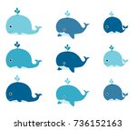 cute vector set with blue... | Shutterstock .eps vector #736152163