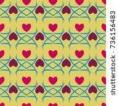 heart seamless pattern. fashion ... | Shutterstock .eps vector #736156483