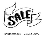 sale ribbon banner drawing... | Shutterstock .eps vector #736158097