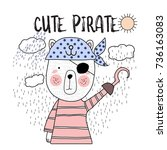cute pirate typography for t... | Shutterstock .eps vector #736163083