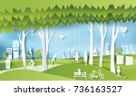 green eco city and life paper... | Shutterstock .eps vector #736163527