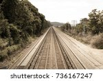 abstract image of train tracks... | Shutterstock . vector #736167247