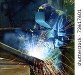 welder in a factory | Shutterstock . vector #73617601