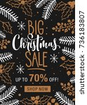 christmas sale. holiday card... | Shutterstock .eps vector #736183807