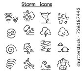 storm icon set in thin line... | Shutterstock .eps vector #736187443