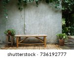 bamboo chairs are placed next... | Shutterstock . vector #736192777