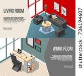 residential futuristic interior ... | Shutterstock .eps vector #736194607