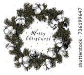 cristmas wreath with fir... | Shutterstock .eps vector #736199647