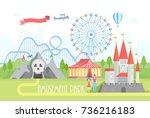 amusement park   modern vector... | Shutterstock .eps vector #736216183