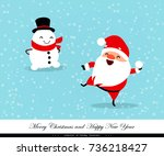 santa claus playing in the snow.... | Shutterstock .eps vector #736218427