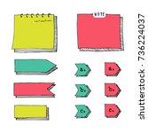 hand drawn cartoon vector set... | Shutterstock .eps vector #736224037