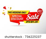 sale banner red  stickers hot... | Shutterstock .eps vector #736225237