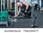 bodybuilder doing exercises... | Shutterstock . vector #736234477