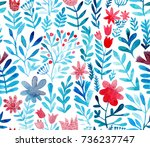 watercolor floral seamless... | Shutterstock . vector #736237747