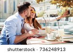 dating in the cafe. beautiful... | Shutterstock . vector #736248913