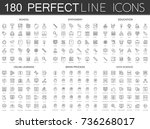 180 modern thin line icons set