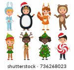 vector set of cute kids wearing ... | Shutterstock .eps vector #736268023
