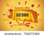 autumn sale background template.... | Shutterstock .eps vector #736272583
