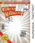 comic book cover template ... | Shutterstock .eps vector #736273057