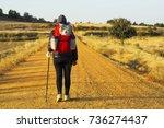 way of st james   pilgrim woman ... | Shutterstock . vector #736274437