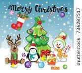 christmas card. christmas deer  ... | Shutterstock .eps vector #736287517